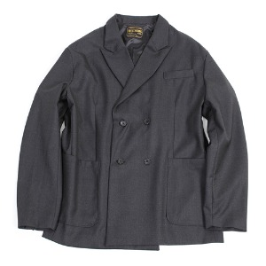DOUBLE BREASTED WOOL JACKET [CHARCOAL]