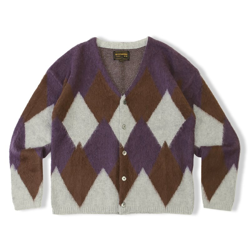 20F/W MOHAIR ARGYLE CARDIGAN_PURPLE