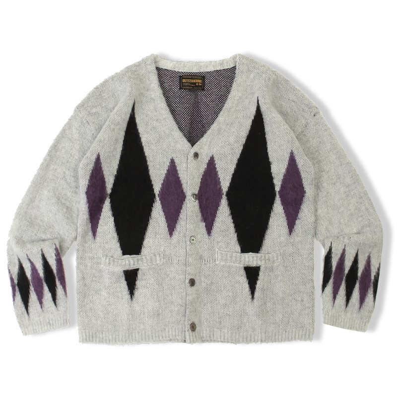 20F/W MOHAIR DIAMOND CARDIGAN_GRAY